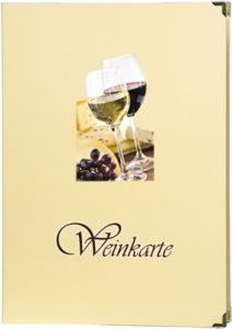 Weinkarte aus foliertem Karton mit 4 Einschubseiten.